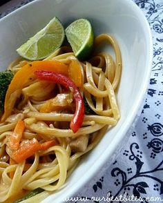 Thai Coconut Curry Noodles with Veggies - love at first bite! I like to add shrimp or chicken, too.