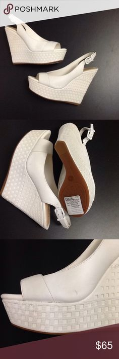 White Wedges Shoes Heels Gianni Bini Lovely shoes with basket weave detail on them. Sling back adjustable buckles with the Gianni Bini Logo. Noreen style. Gianni Bini Shoes Wedges