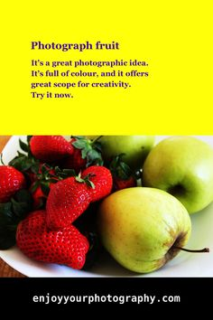 It's a great photographic idea. It's full of colour, and it offers great scope for creativity. Photography For Beginners, Photography Projects, Photography Tutorials, Photography Tips, Amazing Photography, Different Kinds Of Fruits, Photo Projects, Photography Business, Photo Tips
