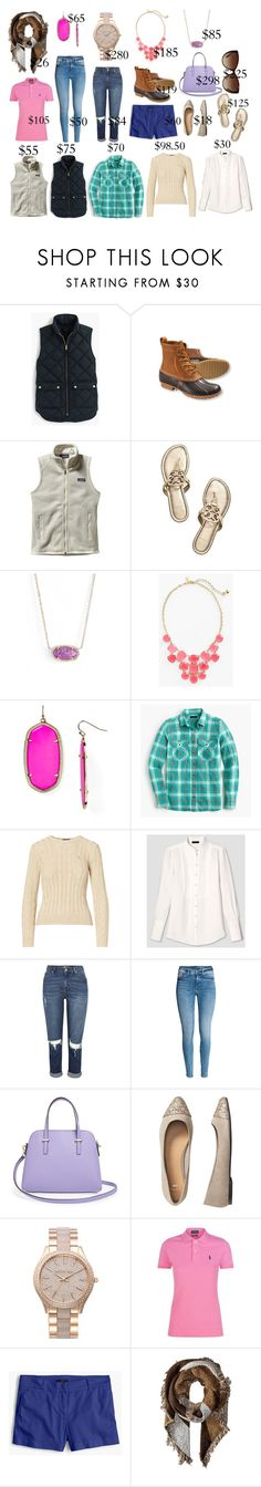 """Preppy Year-Round Basics"" by cydney91 ❤ liked on Polyvore featuring J.Crew, L.L.Bean, Patagonia, Tory Burch, Kendra Scott, Kate Spade, Victoria Beckham, River Island, Gap and MICHAEL Michael Kors"