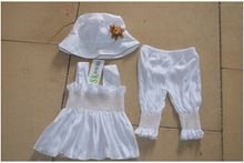 2015 summer baby girls newyear Christmas outfit clothing sets t-shirt+hat +pant baby girls clothes set(China (Mainland))