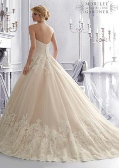 2674 Bridal Gowns / Dresses 2674 Alencon Lace on a Tulle Wedding Gown with Wide Border Hemline