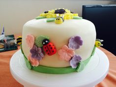 Birthday vanilla and raspberry jam sponge cake spring theme