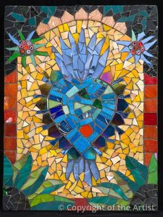 "Grace Received by Patricia Ormsby 2009 Mosaic 18"" x 24"" $450 Stained glass and millefiori  Everyone is either looking for a miracle or giving thanks to the universe for sending a bit of grace. This Milagro explores the spiritual impulse which always seems to send us some radiance."