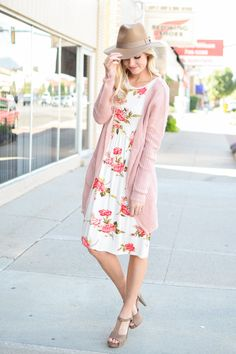 Erica Empire Waist Floral Dress in Ivory