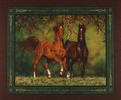 fabric with horse panel | Nobel Stature Horse Cotton fabric - wallhanging quilt top panel 38792