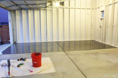 Our garage just got a major upgrade - a shiny, gorgeous gunmetal grey metallic floor using Rust-Oleum RockSolid Metallic Floor Coating. Not only does it look great, it& so much more functional! Concrete Floor Coatings, Garage Floor Coatings, Epoxy Floor, Concrete Floors, Garage Floor Finishes, Garage Floor Paint, Basement Flooring, Basement Remodeling, Vegas Strip