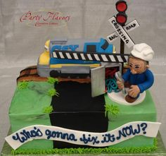 Choo choo! Make way for the train! He celebrated his retirement in style with this amusing railroad cake. @Kim Vargas #PartyFlavors