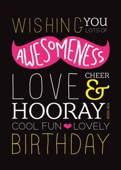 Trendy kaartje met snor met engelse typografie. Vrolijke kaart voor verjaardag van vriend of vriendin of familielid.