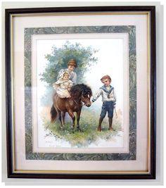 Harriet M. Bennett Baby's First Ride  Nister Dutton NY London 1895 Custom Framed #Vintage120yearsold