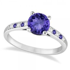 Allurez Cathedral Tanzanite & Diamond Engagement Ring 14k White Gold... ($1,210) ❤ liked on Polyvore featuring jewelry, rings, white gold diamond ring, 14k ring, diamond band ring, diamond rings and round cut diamond rings
