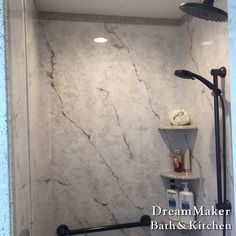 Cultured Marble Shower With Removable Shower Head And Grab Bars. More More