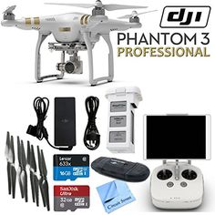 DJI Phantom 3 Professional Quadcopter Drone with 4K UHD Video Camera & CS Kit (17 Items) * Click image to review more details.