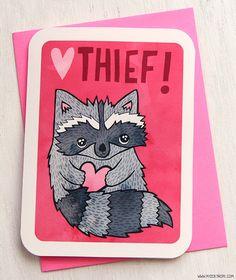 Valentin carte - coeur voleur raton laveur - Valentin