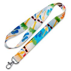 Beach Lover Gift Blue Lanyard Necklace Gold ID Badge Holder Beach Lanyard Beach Glasses Holder Gold Lanyard Ocean Lanyard Gold