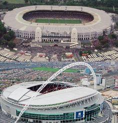 Old Wembley vs New Wembley Wembley Stadium, Football Stadiums, Continents, Futuristic, Europe, Landscape, History, World, Lions