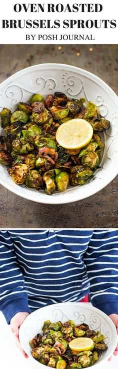 Oven Roasted Brussels Sprouts with Balsamic Vinegar and Bacon! Tasty Balsamic Glaze, Crispy Brussel Sprouts, a great way to eat more veggies! Try this Easy roasted/baked brussels sprouts