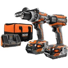 RIDGID R9205 18V Brushless Hammer Drill & Impact Driver $199 (33% off) @ Home Depot Cordless Drill Reviews, Cordless Hammer Drill, Home Depot, Ridgid Tools, Trim Router, Cordless Power Tools, Drill Set, Impact Driver, Impact Wrench