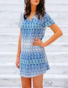 gilt   gossamer - Blue Pattern Shift Dress,  (http://www.giltandgossamer.com/blue-pattern-shift-dress/)