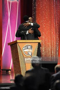 Michael Jordan hugs Scottie Pippen during the Basketball Hall of Fame Class of 2010 Induction Ceremony at the Symphony Hall on August 13 2010 in. Michael Jordan History, Michael Jordan Photos, Jordan 23, Air Jordan, Scottie Pippen, Like Mike, August 13, Chicago Bulls, Mj