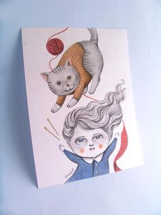 Original Illustration Drawing  Kitty Knitting by by TheWishForest, $35.00