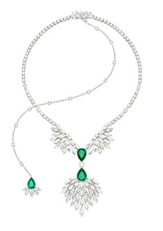 Necklace in 18K white gold set with 84 marquise-cut diamonds , 160 brilliant-cut diamonds , 3 pear-cut emeralds with a central stone and one brilliant-cut diamond. #ExtremelyPiaget