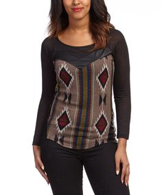 Look what I found on #zulily! Black & Taupe Tribal Sweater by Joompy #zulilyfinds