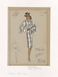 Vintage 1940s Fashion Design Coat from the New York Public Library Digital Gallery