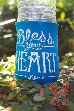 """Lauren James Bless Your Heart Koozie - """"Bless Your Heart""""…one phrase that has always come natural to a true a southern belle! Say it all with this classic koozie from the Lauren James collection. - available online at http://www.envyboutique.us/shop/lauren-james-bless-heart-koozie/ #Envy #Boutique #chic #fashion #fashiontrends #BlessYourHeart, #Koozie, #LaurenJames"""