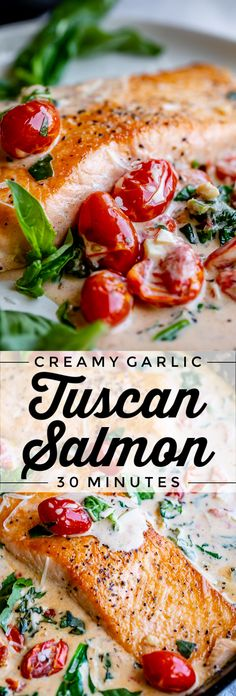 This Creamy Tuscan Salmon is drowning in creamy parmesan sauce with garlic, cherry tomatoes, spinach, and basil. A perfect summer meal, done in 30 minutes! Seared Salmon Recipes, Pan Seared Salmon, Baked Salmon, Entree Recipes, Fish Recipes, Seafood Recipes, Cooking Recipes, Entree Food, Recipies