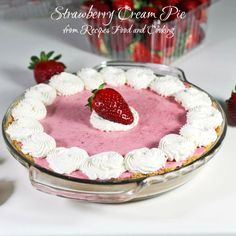 A vanilla boxed cake, strawberry jello, a strawberry cheesecake layer all topped with a whipped topping and strawberries. Strawberry Cheesecake Poke Cake Recipe, Strawberry Cake Recipes, Poke Cake Recipes, Dessert Recipes, Poke Cakes, Strawberry Cream Pies, Strawberries And Cream, Cream Pie Recipes, Cheese Recipes