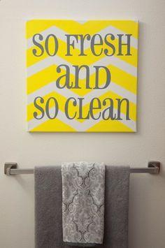 Bathroom decor gray and yellow