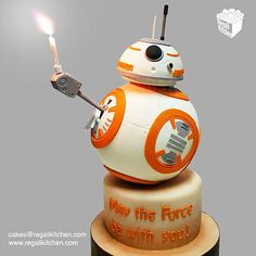 The most original BB8 cake ever of one of the most unforgettable moments of the movie The Force Awakens! Your Star Wars Party will be complete with this lovable droid cake! BB8 do you agree?? Thumbs Up BB-8 Cake | The Regali Kitchen.