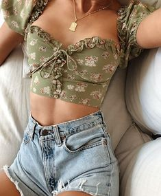 Bazaleas Chic Green Floral Print Cotton ropa mujer Fashion Back Zipper blouse women harajuku Vintage Bandage Blouse Cute Casual Outfits, Girly Outfits, Cute Summer Outfits, Mode Outfits, Retro Outfits, Spring Outfits, Vintage Outfits, Fashion Outfits, Short Outfits