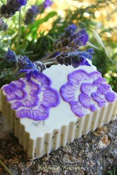 Lavender soap Oooo, brush embroidery! I do this on pottery!