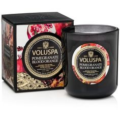 Voluspa Pomegranate Blood Orange 12 oz. Classic Maison Candle found on Polyvore featuring home, home decor, candles & candleholders, black, black candles, orange home accessories, black home decor, pomegranate candles and orange candles