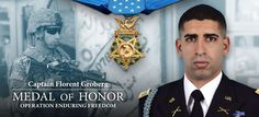Florent Groberg was awarded the Medal of Honor for his heroic acts in Afghanistan. Army Medic, Medal Of Honor Recipients, United States Army, Military History, Us Army, Armed Forces, Memorial Day, Usa Gov, First Love
