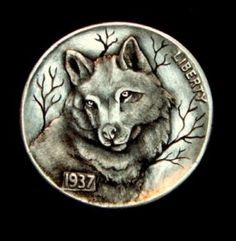 Hobo Nickel 'The Eyes of the Wolf' Full Horn by Howard Thomas