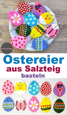 Ostereier aus Salzteig basteln – DIY , Make Easter eggs out of salt dough - DIY - crafting tips for children - Easter - Easter decorations. Crafts To Sell, Home Crafts, Diy And Crafts, Nature Crafts, Easter Crafts For Kids, Diy For Kids, Easter Decor, Bunny Crafts, Summer Crafts