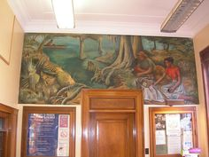 "Lake Providence LA   New Deal mural entitled ""Life on the Lake"" painted by Ethel Edwards in 1942."