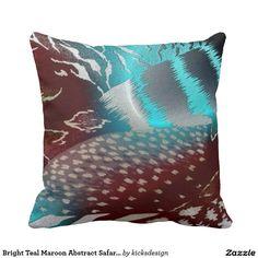 Bright Teal Maroon Abstract Safari Animal Print