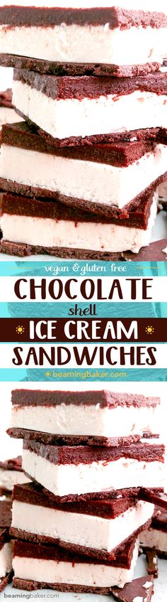 Vegan ice cream sandwiches: A chocolate shell twist on a classic frozen dessert. A thick layer of raw cashew ice cream sandwiched between two layers of homemade chocolate shell.  #Vegan #GlutenFree #DairyFree | BeamingBaker.com