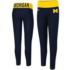 Michigan Wolverines Ladies Pivot II Yoga Leggings - Navy Blue/Maize