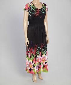 cc84484d46 Look at this  zulilyfind! Green Floral Scoop Neck Maxi Dress - Plus   zulilyfinds