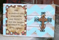 Rustic wooden,chevron patterned wall decor with bible verse and cross by The Spiced Apple.