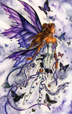 Nene Thomas Ceramic Tile Art -- Lavender Serenade Fairy