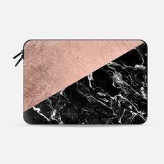 Bold modern rose gold black marble color block - Macbook Sleeve
