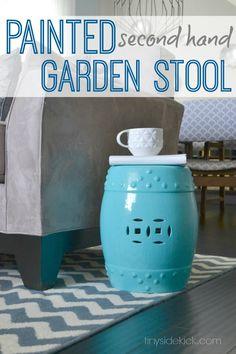 Turquoise Garden Stool {knock off} #trashtotreasure #knockoffdecor
