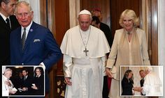 The Duchess of Cornwall broke with tradition and wore gold as she and Prince Charles met Pope Francis for the first time with a private audience at the Vatican today.
