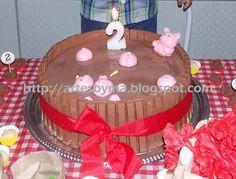 artes by Má: Festa - tema: Fazendinha = decoração da mesa e o bolo